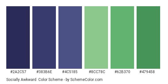 Socially Awkward - Color scheme palette thumbnail - #2a2c57 #383b6e #4c5185 #8cc78c #62b370 #479458