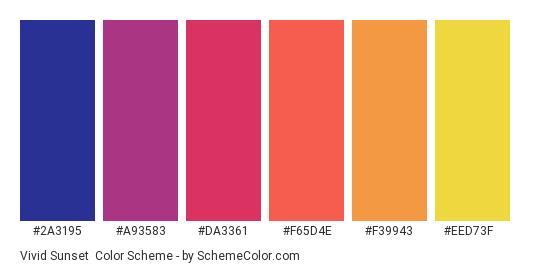 Vivid Sunset - Color scheme palette thumbnail - #2a3195 #a93583 #da3361 #f65d4e #f39943 #eed73f