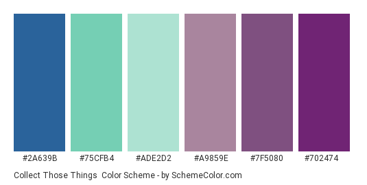 Collect Those Things - Color scheme palette thumbnail - #2a639b #75cfb4 #ade2d2 #a9859e #7f5080 #702474