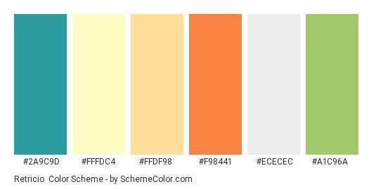 Retricio - Color scheme palette thumbnail - #2a9c9d #fffdc4 #ffdf98 #f98441 #ECECEC #A1C96A