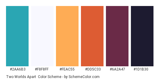 Two Worlds Apart - Color scheme palette thumbnail - #2aa6b3 #f8f8ff #feac55 #dd5c33 #6a2a47 #1d1b30