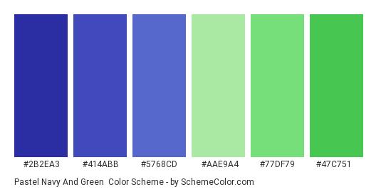 Pastel Navy and Green - Color scheme palette thumbnail - #2b2ea3 #414abb #5768cd #aae9a4 #77df79 #47c751