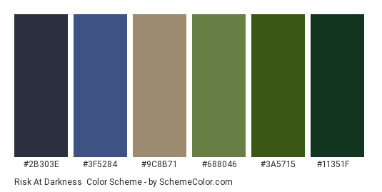 Risk at Darkness - Color scheme palette thumbnail - #2b303e #3f5284 #9c8b71 #688046 #3a5715 #11351f