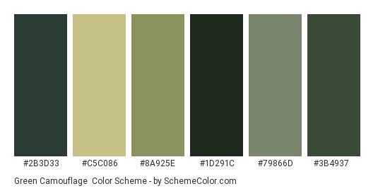 Green Camouflage - Color scheme palette thumbnail - #2b3d33 #c5c086 #8a925e #1d291c #79866d #3b4937