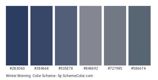 Winter Morning - Color scheme palette thumbnail - #2b3d60 #384668 #535e78 #848692 #727985 #586674