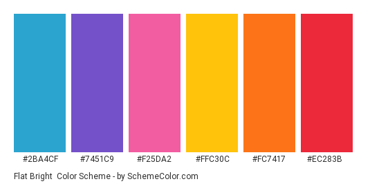 Flat Bright - Color scheme palette thumbnail - #2ba4cf #7451c9 #f25da2 #ffc30c #fc7417 #ec283b