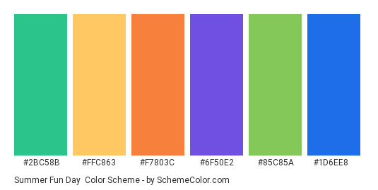 Summer Fun Day - Color scheme palette thumbnail - #2bc58b #ffc863 #f7803c #6f50e2 #85c85a #1d6ee8