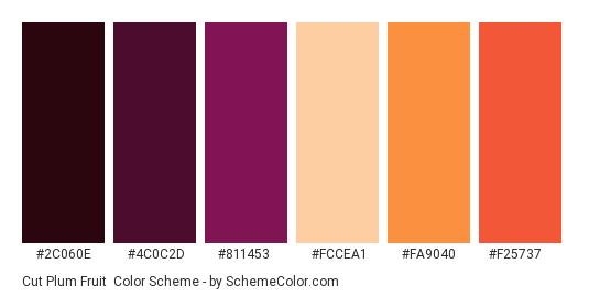 Cut Plum Fruit - Color scheme palette thumbnail - #2c060e #4c0c2d #811453 #fccea1 #fa9040 #f25737