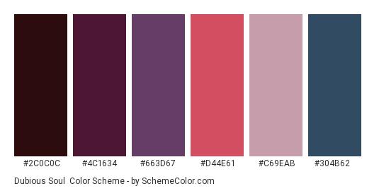 Dubious Soul - Color scheme palette thumbnail - #2c0c0c #4c1634 #663d67 #d44e61 #c69eab #304b62