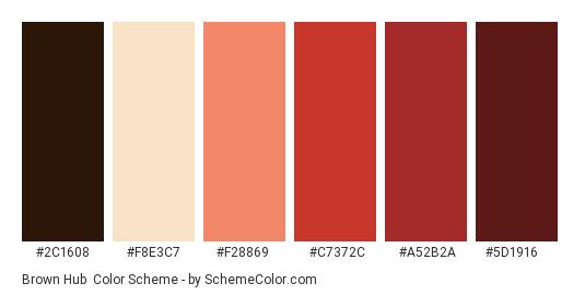 Brown Hub - Color scheme palette thumbnail - #2c1608 #f8e3c7 #f28869 #c7372c #a52b2a #5d1916