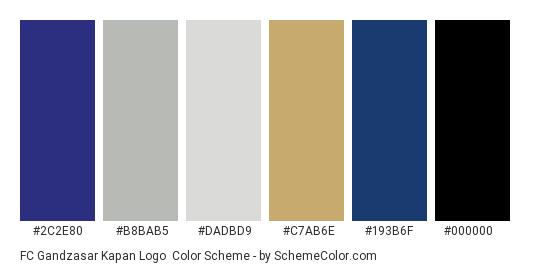 FC Gandzasar Kapan Logo - Color scheme palette thumbnail - #2c2e80 #b8bab5 #dadbd9 #c7ab6e #193b6f #000000