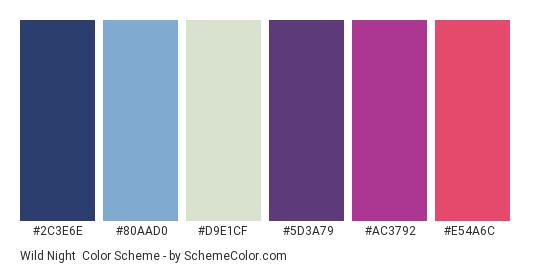 Wild Night - Color scheme palette thumbnail - #2c3e6e #80aad0 #d9e1cf #5d3a79 #ac3792 #e54a6c