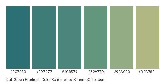 Dull Green Gradient - Color scheme palette thumbnail - #2c7073 #3d7c77 #4c8579 #62977d #93ac83 #b0b783