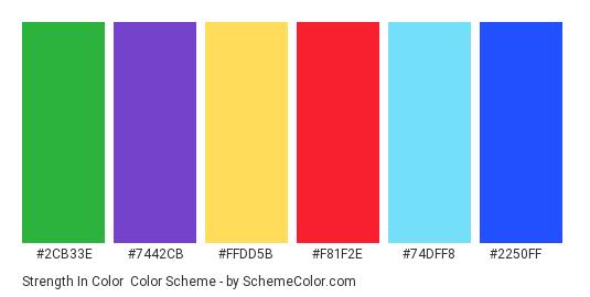 Strength in Color - Color scheme palette thumbnail - #2cb33e #7442cb #ffdd5b #f81f2e #74dff8 #2250ff
