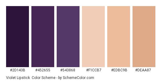 Violet Lipstick - Color scheme palette thumbnail - #2d143b #452655 #543868 #f1ccb7 #edbc9b #deaa87