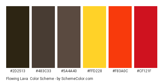 Flowing Lava - Color scheme palette thumbnail - #2d2513 #483c33 #5a4a40 #ffd228 #f83a0c #cf121f