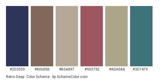 Retro Deep - Color scheme palette thumbnail - #2d3559 #80685b #b5a897 #9d575e #ada58a #3d7479