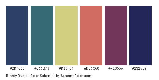 Rowdy Bunch - Color scheme palette thumbnail - #2d4065 #366b73 #d2cf81 #d06c60 #72365a #232659