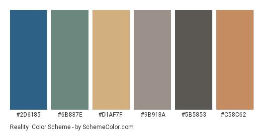 Reality - Color scheme palette thumbnail - #2d6185 #6b887e #d1af7f #9b918a #5b5853 #c58c62