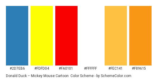 Donald Duck – Mickey Mouse Cartoon - Color scheme palette thumbnail - #2d7eb6 #fdfd04 #fa0101 #ffffff #fec141 #f89615
