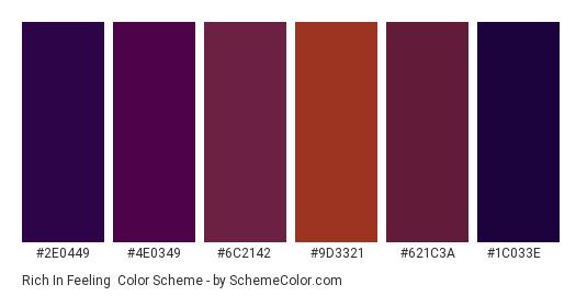 Rich in Feeling - Color scheme palette thumbnail - #2e0449 #4e0349 #6c2142 #9d3321 #621c3a #1c033e