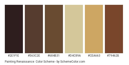 Painting Renaissance - Color scheme palette thumbnail - #2e1f1e #563c2e #684b31 #d4c89a #cea663 #79462b