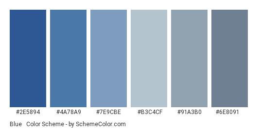 Blue & Grey - Color scheme palette thumbnail - #2e5894 #4a78a9 #7e9cbe #b3c4cf #91a3b0 #6e8091