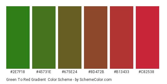 Green to Red Gradient - Color scheme palette thumbnail - #2e7f18 #45731e #675e24 #8d472b #b13433 #c82538