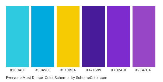 Everyone Must Dance - Color scheme palette thumbnail - #2ecadf #00a9de #f7cb04 #471b99 #7d2acf #9847c4