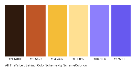 All That's Left Behind - Color scheme palette thumbnail - #2f1a0d #bf5626 #f4bc37 #ffe092 #8d7ffc #6759ef
