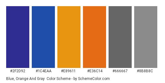 Blue, Orange and Gray - Color scheme palette thumbnail - #2f2d92 #1c4eaa #e89611 #e36c14 #666667 #8b8b8c