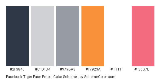 Facebook Tiger Face Emoji - Color scheme palette thumbnail - #2f3846 #cfd1d4 #979ba3 #f7923a #ffffff #f36b7e