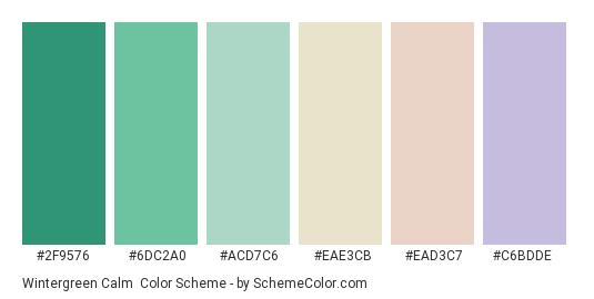 Wintergreen Calm - Color scheme palette thumbnail - #2f9576 #6dc2a0 #acd7c6 #eae3cb #ead3c7 #c6bdde