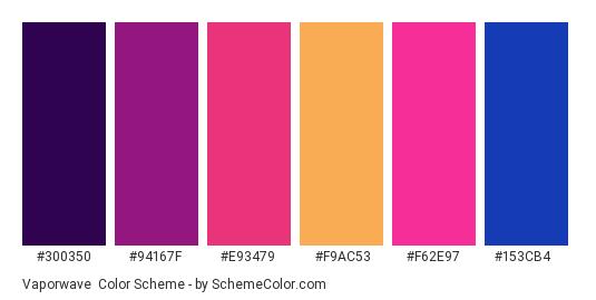 Vaporwave - Color scheme palette thumbnail - #300350 #94167f #e93479 #f9ac53 #f62e97 #153cb4