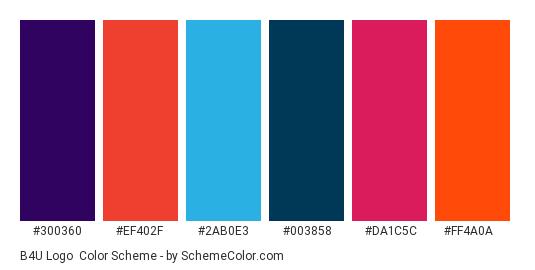 B4U Logo - Color scheme palette thumbnail - #300360 #ef402f #2ab0e3 #003858 #da1c5c #ff4a0a