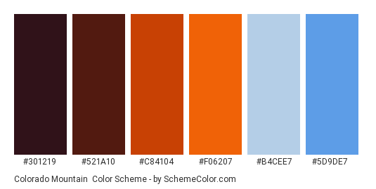 Colorado Mountain - Color scheme palette thumbnail - #301219 #521a10 #c84104 #f06207 #b4cee7 #5d9de7