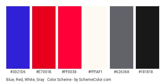 Blue, Red, White, Gray & Black - Color scheme palette thumbnail - #3021d6 #e7001b #ff0038 #FFFAF1 #626368 #181818