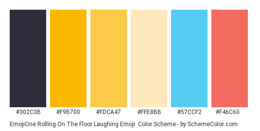 EmojiOne Rolling on the Floor Laughing Emoji - Color scheme palette thumbnail - #302c3b #f9b700 #fdca47 #ffe8bb #57ccf2 #f46c60