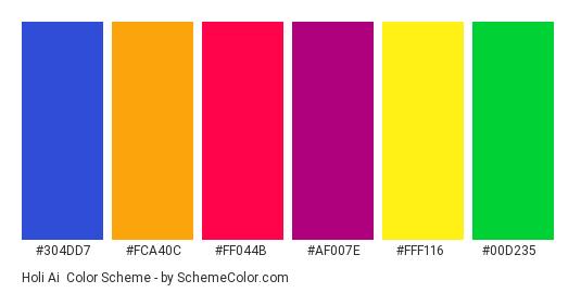 Holi Ai - Color scheme palette thumbnail - #304DD7 #FCA40C #FF044B #AF007E #FFF116 #00D235