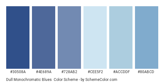 Dull Monochromatic Blues - Color scheme palette thumbnail - #30508a #4e689a #728ab2 #cee5f2 #accddf #80abcd