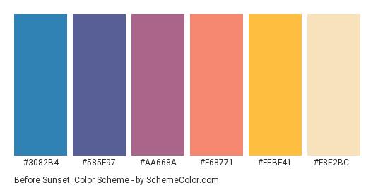 Before Sunset - Color scheme palette thumbnail - #3082b4 #585f97 #aa668a #f68771 #febf41 #f8e2bc