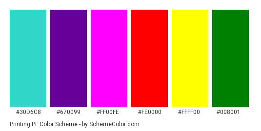 Printing Pi - Color scheme palette thumbnail - #30D6C8 #670099 #FF00FE #FE0000 #FFFF00 #008001