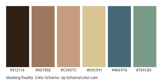 Masking Reality - Color scheme palette thumbnail - #312114 #9d785e #c39d7c #d9c591 #46697a #789c85