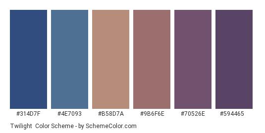 Twilight - Color scheme palette thumbnail - #314d7f #4e7093 #b58d7a #9b6f6e #70526e #594465