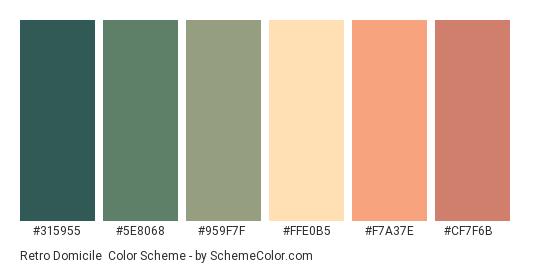 Retro Domicile - Color scheme palette thumbnail - #315955 #5e8068 #959f7f #ffe0b5 #f7a37e #cf7f6b