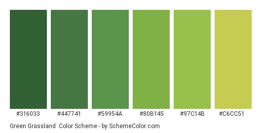 Green Grassland - Color scheme palette thumbnail - #316033 #447741 #59954a #80b145 #97c14b #c6cc51