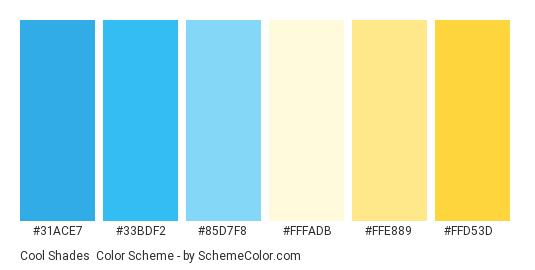 Cool Shades - Color scheme palette thumbnail - #31ace7 #33bdf2 #85d7f8 #fffadb #ffe889 #ffd53d
