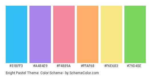 Bright Pastel Theme - Color scheme palette thumbnail - #31bff3 #a484e9 #f4889a #ffaf68 #f6e683 #79d45e