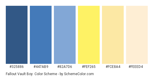 Fallout Vault Boy - Color scheme palette thumbnail - #325886 #447ab9 #82a7d6 #fef265 #fce8a4 #feeed4