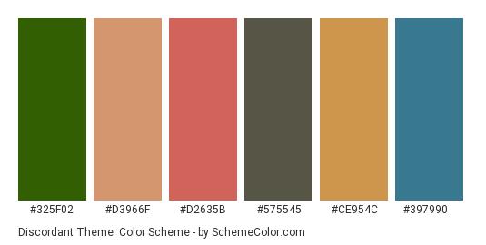 Discordant Theme - Color scheme palette thumbnail - #325f02 #d3966f #d2635b #575545 #ce954c #397990